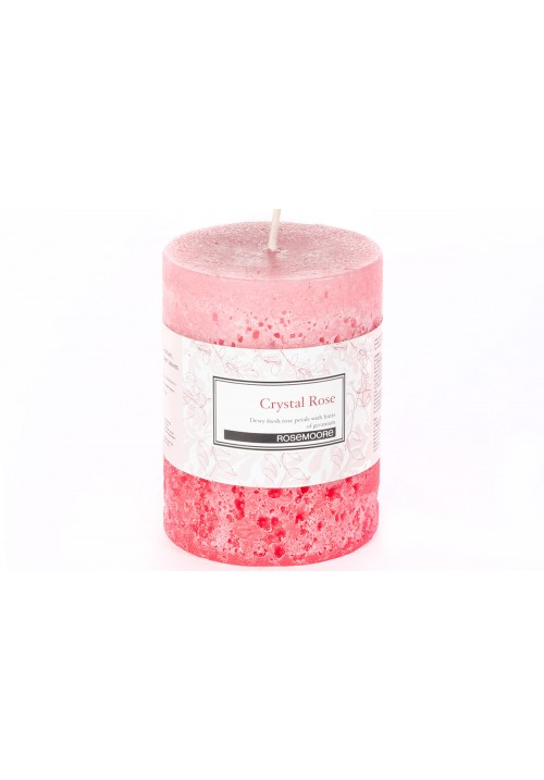 Rose Moore Scented Pillar Candle - Crystal Rose